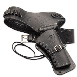 leather gun holster black